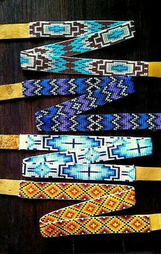 beaded. I think that these are belts, but they would make good patterns for pens