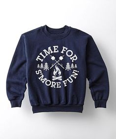 Navy 'Time for S'more Fun' Crewneck Sweatshirt - Kids