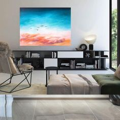 Original Painting On Canvas Large Wall Art Bathroom Wall image 4 Large Abstract Wall Art, Large Artwork, Large Canvas Wall Art, Colorful Artwork, Extra Large Wall Art, Large Painting, Office Wall Art, Modern Wall Decor, Bathroom Wall Decor