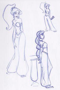 Aladdin - Princess Jasmine: disney, princess, sketches