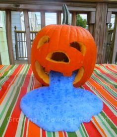 """""""We plan to experiment with smaller pumpkins to see if we can get the eruptions to come out of the entire pumpkin face. I am certain that with a little tinkering, we can make this fun Science experiment for kids even cooler! Halloween Science, Halloween Crafts For Kids, Holidays Halloween, Fall Crafts, Fall Halloween, Holiday Crafts, Happy Halloween, Halloween Decorations, Halloween Party"""