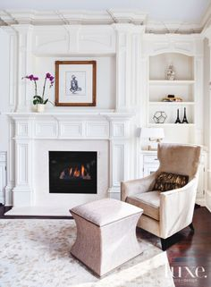 Lovely, Traditional Living Room w/ a beautiful Fireplace, Surround, Mantle, &, flanking the fireplace, a Built-In Display Cabinet.