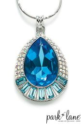 "Hamptons Necklace: The aquamarine faceted glass gem of this magnificent teardrop-shaped pendant is enhanced by aqua Austrian crystal baguettes and aurora borealis pave crystals. Textured silver chain. 17""+1"" ext. #ParkLaneJewelry #wedding #bridal"