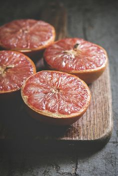 grapefruits - if you top these with a little brown sugar and cinnamon and broil them you would be surprised even non-grapefruit lovers will gobble this up!