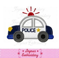 Instant Download Police car Applique Machine by JoyousEmbroidery