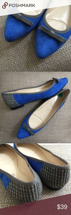 UNISA Blue Suede Hounds Tooth Flats 8M UNISA Blue Suede Hounds Tooth Flats 8M Unisa Shoes Flats & Loafers