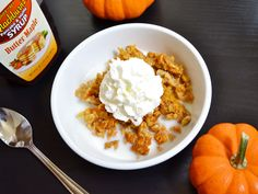 Baked pumpkin pie oatmeal. Contains eggs.