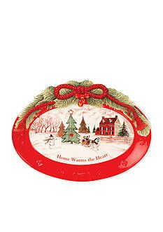 "The charming ""Home Warms the Heart"" Sentiment Tray by Fitz and Floyd is perfect to display during the holiday season. Presented in a hand sculpted and hand painted detail. Use as a tray, plate, or platter. Christmas Train, Christmas Fun, Modern Holiday Decor, Holiday Messages, Christmas Dishes, Good Cheer, Heart Cookies, Hand Painted, Warm"