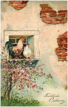 Embossed Best Easter Wishes Hen Rooster 1908 PFB Germany Chicken Painting, Chicken Art, Pink Blossom Tree, Chicken Pictures, Easter Wishes, Chickens And Roosters, Vintage Easter, Vintage Artwork, Hens