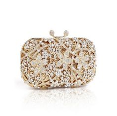La Mia Cara Jewelry - Opera - Rhinestone Crystal & Gold Evening Clutch Bag