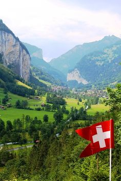Lauterbrunnen Valley, home to 72 waterfalls, in the Berner Oberland Alps of Switzerland