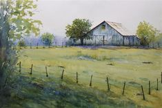 Discover Original Art by Judy Mudd | Spring Farm watercolor painting | Art for Sale Online at UGallery