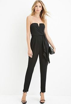 79ffa6e0839 Contemporary Strapless V-Notched Jumpsuit