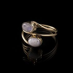 Two Stones Brass Ring Moonstone, Tribal Ring, Gemstone Ring, Stone Ring, Tribalik, Moonstone Jewellery (Code 2) by TRIBALIK on Etsy