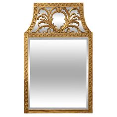 Carved and Gilt Wood Mirror | From a unique collection of antique and modern wall mirrors at https://www.1stdibs.com/furniture/mirrors/wall-mirrors/