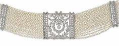 Pearl and diamond choker, circa 1905 Edwardian Jewelry, Antique Jewelry, Vintage Jewellery, Belle Epoque, Diamond Choker Necklace, Pearl Necklace, Collar Necklace, Vintage Diamond, Diamond Cuts