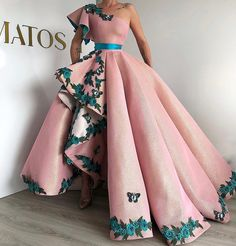 Eightree Arabic Shinning Ball Gown Pink Evening Gowns Long Party Dress Lace up Sexy One Shoulder prom Dresses robe de Soiree Ball Dresses, Ball Gowns, Prom Dresses, Formal Dresses, Long Dresses, Elegant Dresses, Pretty Dresses, Couture Dresses, Fashion Dresses