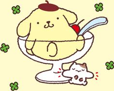 Purin, a dog who is always wearing his beret, by Sanrio. Purin is Japanese custard. He is often shown with his friend, who I believe to be Muffin the cat, but I'm not sure.
