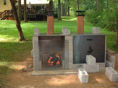 Smoker Pit made from cinder blocks