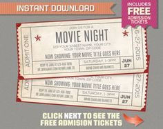 Movie Night Invitation with FREE Admission Tickets! Movie Night Party - Movie Night Birthday - Movie Ticket - Editable PDF file - Movie Night Invitation with FREE Admission Tickets! Backyard Movie Party, Outdoor Movie Party, Backyard Movie Theaters, Backyard Movie Nights, Outdoor Movie Nights, Wedding Backyard, Movie Night Invitations, Party Invitations Kids, Ticket Invitation