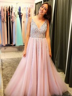 BohoProm prom dresses Shining Tulle V-neck Neckline A-line Prom Dresses  With Rhinestones 330b01266b39
