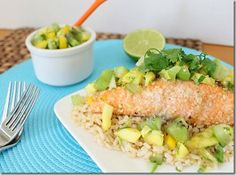 Coconut & Cashew crusted salmon  http://www.runningtothekitchen.com/2011/12/coconut-cashew-crusted-salmon/