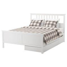 HEMNES Bed frame with 2 storage boxes - Full, Leirsund slatted bed base, adjustable, white stain - IKEA Bed Frame With Storage, Under Bed Storage, Storage Boxes, Storage Spaces, Wall Storage, Hemnes Bed, Steel Bed Frame, High Beds, Bed Slats