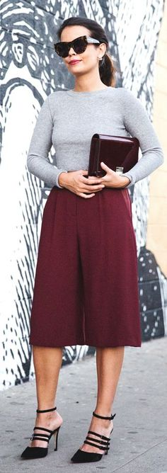 Burgundy Street Chic Culottes by Collage Vintage