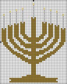 Free Cross Stitch Pattern - Hanukah Menorah Pattern : Free Cross Stitch Pattern - Hanukkah Menorah Pattern - Color Symbol Pattern
