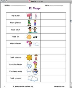 Worksheet Middle School Spanish Worksheets teaching worksheets for kindergarten and kids on pinterest spanish seasons weather packet middle school