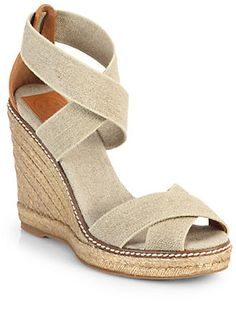 $195, Adonis Crisscross Espadrille Wedge Sandals by Tory Burch. Sold by Saks Fifth Avenue. Click for more info: http://lookastic.com/women/shop_items/81313/redirect