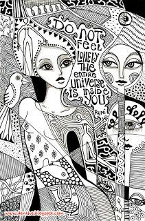 Doodle in b/w by denthe Doodle Girl, Zen Doodle, Coloring Books, Coloring Pages, Doodle Coloring, Abstract Faces, Doodles Zentangles, Doodle Patterns, Doodle Drawings