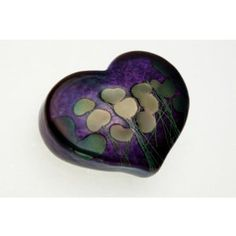 "Robert Held Art Glass - Giverny Large Heart Paperweight, Amethyst - 3 X 2.5"" #lotus"
