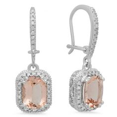 2.90 Carat (ctw) 10K White Gold Cushion Cut Morganite & Round Cut White Diamond Ladies Halo Style Dangling Drop Earrings