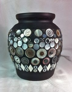 ButtonArtMuseum.com - 11inch Ceramic Pot with Mother of Pearl Vintage Button Mosaic. $85.00, via Etsy. TheArtPad Studio