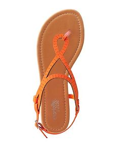 Perforated Loopy T-Strap Thong Sandals