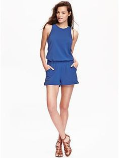 Womens Sleeveless Jersey Rompers