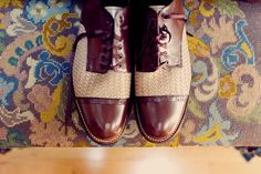 Vintage style shoes for the Autumn man. Wedding Wows, 1920s Wedding, Wedding Groom, Dream Wedding, Beatnik Style, Spectator Shoes, Vintage Groom, Groom Attire, Groom Dress