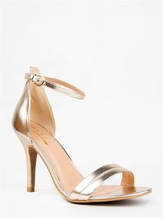 - Sexy is made simple again with this minimalist ankle strap sandal and a not-too-tall slender stiletto heel. - Sandals have an open toe design, stitched detailing, heel cup and pin buckle fastening.