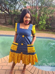 Sotho Traditional Dresses, Pedi Traditional Attire, Traditional African Clothing, Traditional Wedding, Short African Dresses, Latest African Fashion Dresses, African Print Fashion, Seshweshwe Dresses, Inexpensive Dresses