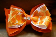 Halloween Pumpkin Hair Bow by MariasBowTique on Etsy, $4.25