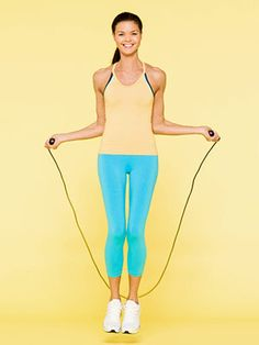 15-Minute Jump Rope Workouts. Lose 160 calories in 15 minutes targeting your arms, abs, legs, and butt.