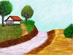Sketch of the Day Gubuk Bambu by Cece Sutapa Digital Art, Sketch, Drawings, Day, Painting, Sketch Drawing, Painting Art, Paintings, Paint
