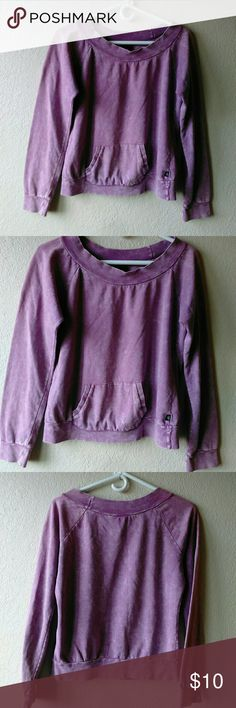 "L A Kitty Distressed Purple Sweatshirt Size Large.  Chest is 20"" across.  Length is 22"".  Round Neck.  100% Cotton.  Measurements are approximate in the flat position.  Soft to the touch. L A Kitty Tops Sweatshirts & Hoodies"
