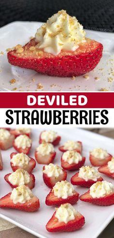 Strawberry Recipes, Fruit Recipes, Appetizer Recipes, Sweet Recipes, Snack Recipes, Dessert Recipes, Snacks, Strawberry Cheesecake, Cheesecake Stuffed Strawberries