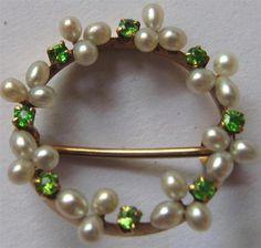 Superb Antique Edwardian 14k Gold Lime Green Demantoid Garnet Pearl Brooch Pin | eBay