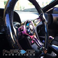 """Photo gallery for ST-036BSB-MC Black Sparkled Wood Grain Wheel (3"""" Deep), 350mm, 3 Solid spoke center in Neochrome   NRG Innovations"""