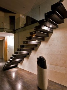 Modern Floating Staircase Design, Pictures, Remodel, Decor and Ideas Floating Staircase, Modern Staircase, Staircase Design, Stair Design, Staircase Ideas, Small Staircase, Staircase Remodel, Spiral Staircases, Glass Stairs