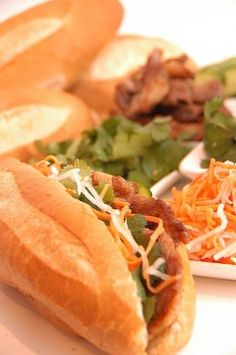 Banh mi are Vietnamese subs. Orlando has a Vietnamese area east of downtown, and that's where I was exposed to these. Now I could live on them! They are not hard to make, but if you don't have freshly baked french bread on hand, don't bother!