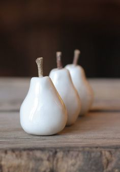 ceramic mini pears real twig stems white set of by cravestudio